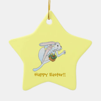 Running Easter Bunny and basket of eggs Ceramic Star Decoration