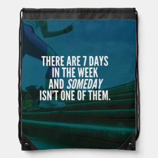Running Exercise Motivational Words Drawstring Bag
