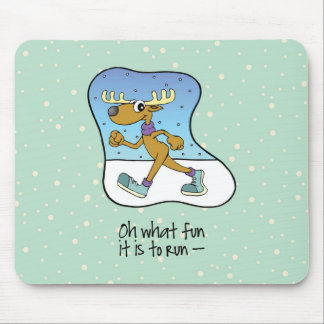 Running Exercise Reindeer Christmas Mouse Pad