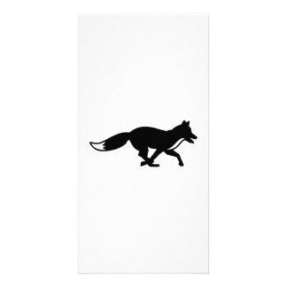 Running fox photo card