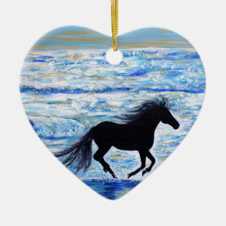 Running Free by the Sea 2 Ceramic Ornament