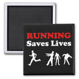 Running (from Zombies) Saves Lives square magnet