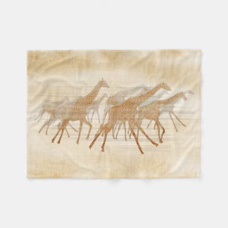 Running Giraffes ID141 Fleece Blanket