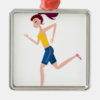 Running girl edition metal ornament