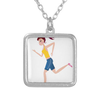 Running girl edition silver plated necklace
