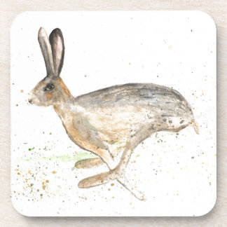 Running hare watercolour coaster