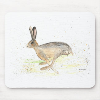 Running hare watercolour mouse pad