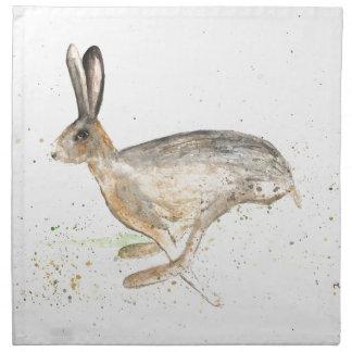 Running hare watercolour napkin