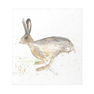 Running hare watercolour notepad