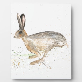 Running hare watercolour plaque