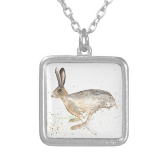 Running hare watercolour silver plated necklace