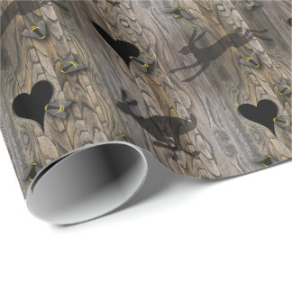 Running Hares Bees and Wooden hearts pagan wood Wrapping Paper