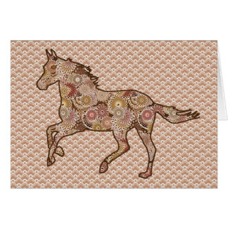 Running Horse Silhouette, Brown, Tan, and Cream Card