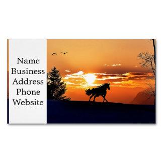 running horse  - sunset horse - horse Magnetic business card