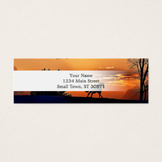 running horse  - sunset horse - horse mini business card