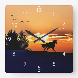 running horse  - sunset horse - horse square wall clock
