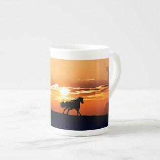running horse  - sunset horse - horse tea cup
