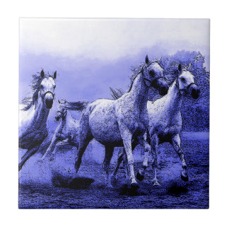 Running Horses & Blue Moonlight Small Square Tile
