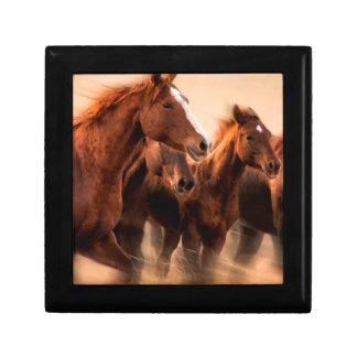 Running horses, blur and flying manes small square gift box