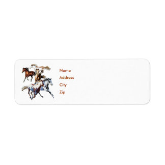 Running Horses, Name, Address, City, Zip Return Address Label