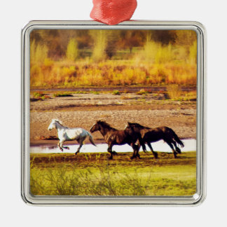 Running Horses Silver-Colored Square Decoration