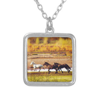 Running Horses Silver Plated Necklace