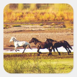Running Horses Square Sticker