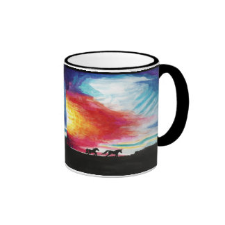 Running Horses Sunset Art Mug