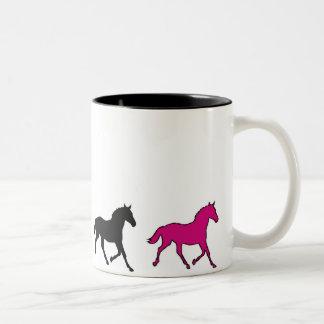 Running Horses Two-Tone Coffee Mug