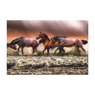 Running horses wrapped canvas