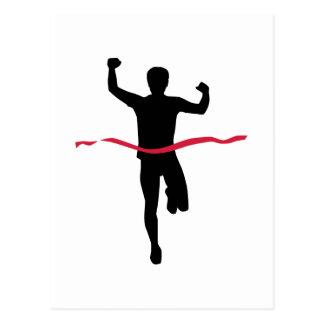 Running marathon winner champion postcard