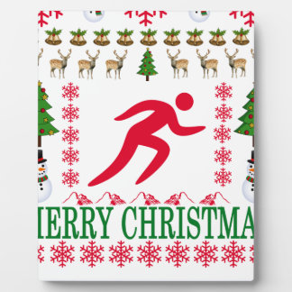 RUNNING MERRY CHRISTMAS . PLAQUE