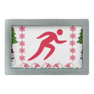 RUNNING MERRY CHRISTMAS . RECTANGULAR BELT BUCKLE