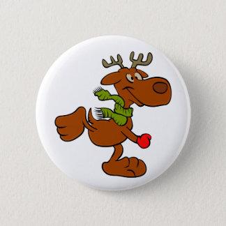 Running moose 6 cm round badge