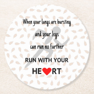 Running motivational sports quote round paper coaster