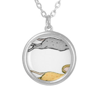 Running Mouse Vector Sketch Silver Plated Necklace