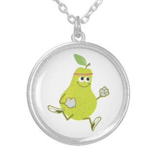 Running Pear Round Pendant Necklace