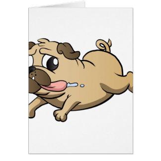 running pug cartoon card
