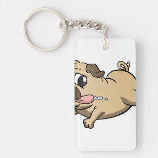 running pug cartoon Double-Sided rectangular acrylic key ring