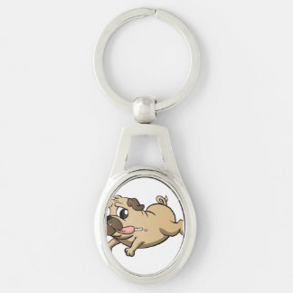 running pug cartoon Silver-Colored oval key ring