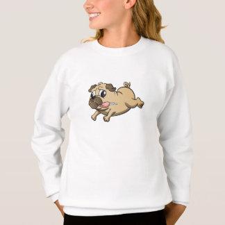 running pug cartoon sweatshirt