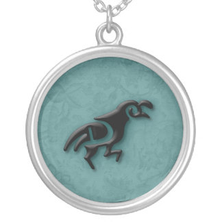 Running Quail in 3D Round Pendant Necklace