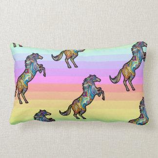 Running Rainbow Horse on Rainbow BG Lumbar Cushion