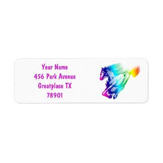 Running Rainbow Horse With Motion Trail Return Return Address Label