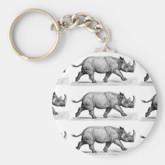 Running Rhinos art Key Ring