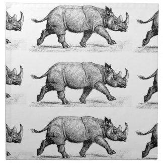 Running Rhinos art Napkin
