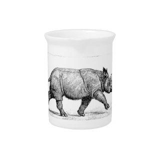 Running Rhinos art Pitcher