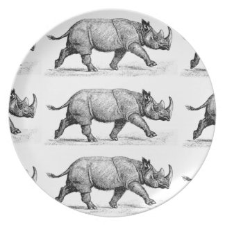 Running Rhinos art Plate