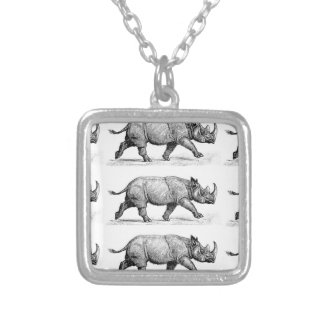 Running Rhinos art Silver Plated Necklace