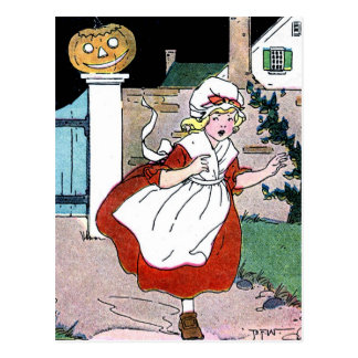 Running Scared from the Jack-O-Lantern Postcard